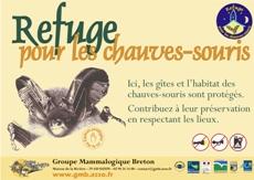Panneau officiel de l'opération Refuge pour les chauves-souris.